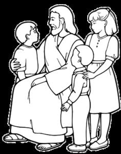 pais levam filhos a jesus